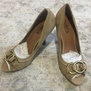 Tribeca tan suede peep toe heels - never worn!